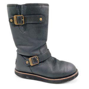 Ugg Kensington II Black Leather Winter Snow Boots